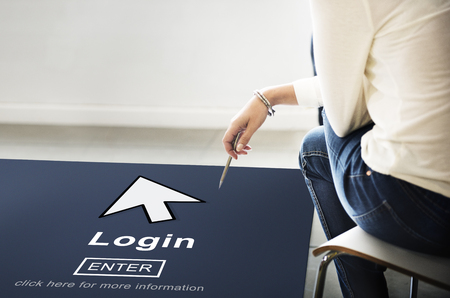page up: Log In Profile Enter Arrow Icon Concept Stock Photo
