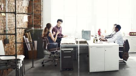 folder: Equipo de negocios Oficio con título Concepto del lugar de trabajo