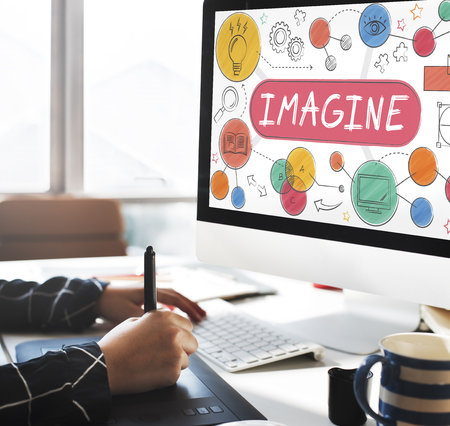 Imagine Imagination Expect Creative Icons Concept Stock Photo