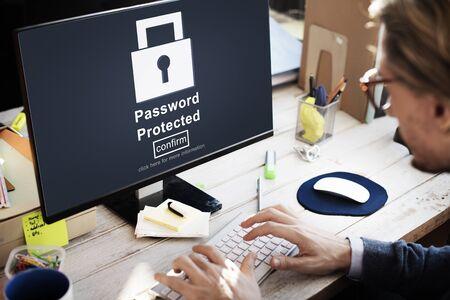 privacy: Protegido con contrase�a de privacidad Concepto de seguridad privada Foto de archivo