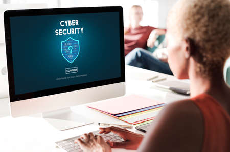 office computer: Cyber Security Protection Firewall Interface Concept Stock Photo
