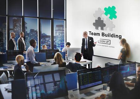 team cooperation: Team Building Busines Collaboration Development Concept Stock Photo