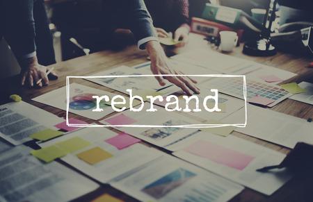 posicionamiento de marca: Cambio de marca de marketing Branding Business Concept Foto de archivo