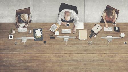 COLABORACION: Vista aérea de colaboración corporativa Concepto Mesa de Trabajo