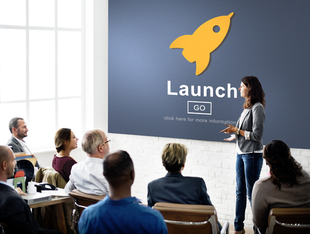 brands: Launch Start Brand Introduce Rocket Ship Concept Stock Photo