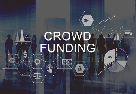 multi ethnic group: Crowd Funding Supporters Investment Fundraising Contribution Concept