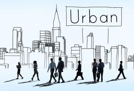 sidewalk talk: Urban Architecture Constructin Cosmopolitan Concept Stock Photo