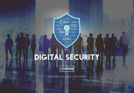 multi ethnic group: Digital Security Protection Privacy Interface Concept