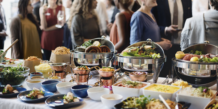 catering food: Food Buffet Catering Dining Eating Party Sharing Concept Stock Photo