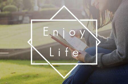 enjoyment: Life Enjoyment Happiness Satisfaction Concept
