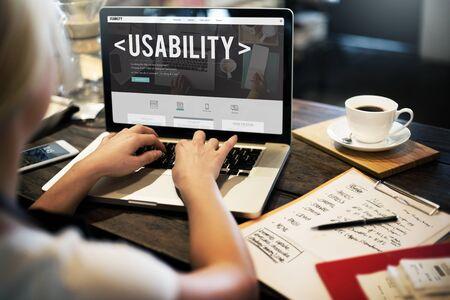 proposito: Usabilidad Capacidad Propósito Calidad Utilidad Concept Foto de archivo