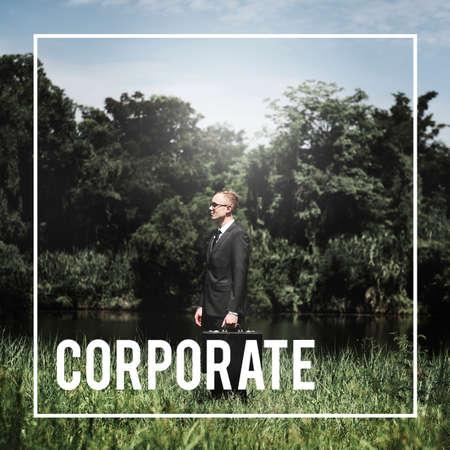 attache case: Corporate Business Organization Management Concept