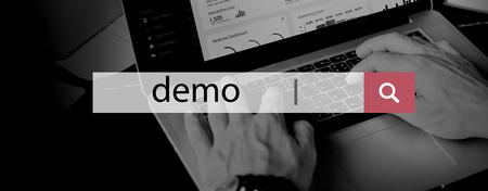 e systems: Demo Test Ideas Trailer Trial Concept Stock Photo