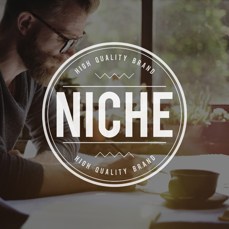 Niche concept with a man working in the background
