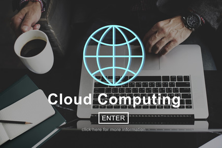 e work: Cloud Computing Technology Online Website Concept Stock Photo