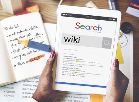wiki: Wiki Website Database Key Knowledge Information Concept Stock Photo