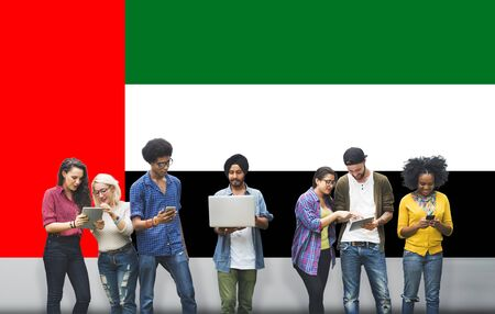 UAE National Flag Studying Diversity Students Concept Stock Photo