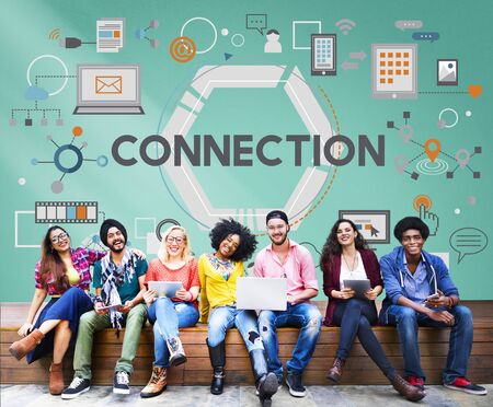 college campus: Connection Online Networking Link Connected Concept Stock Photo