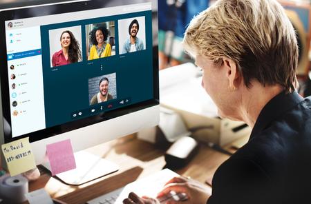 Groep Vrienden Video Chat Connection Concept