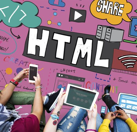 html: HTML Internet Computer Coding Website Network Concept Stock Photo