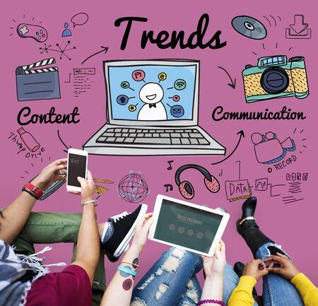 trending: Trends Trend Trending Trendy Fashion Style Design Concept Stock Photo