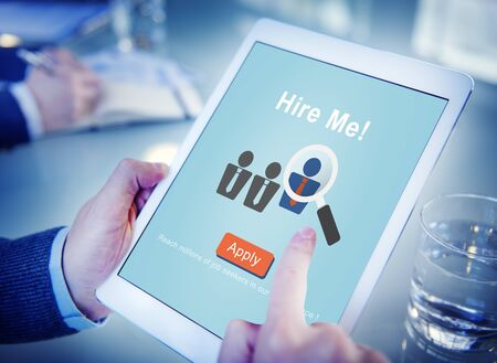 finding employment: Hire Me! Application Job Employment Recruitment Concept Stock Photo