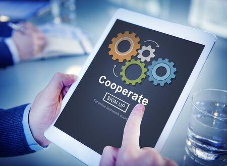 Tablet concepto de trabajador de oficina Conexión a Internet Foto de archivo
