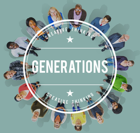 generation x: Diversity Group People Looking up Aspiration Concept Stock Photo