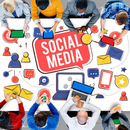 communications technology: Social Media Connection Global Communication Concept Stock Photo