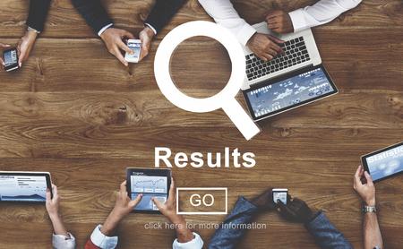 Résultats Résultat Effet d'évaluation de la productivité Achievement Concept Banque d'images