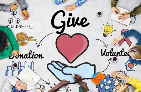 welfare: Give Donations Volunteer Welfare Support Concept Stock Photo