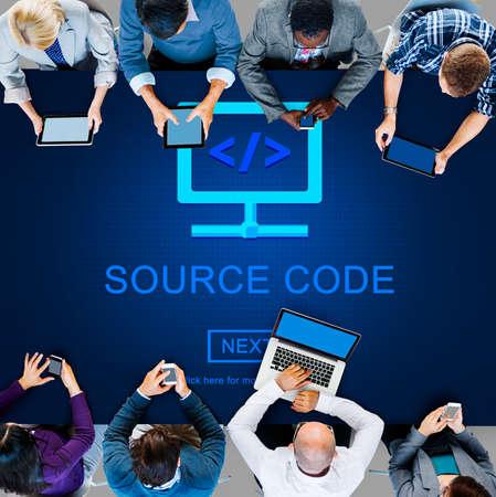 decode: Source Code Binary Data Internet Program Decode Concept