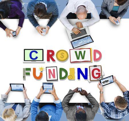 Crowdfunding Fundraising Contribution Investment Concept Reklamní fotografie