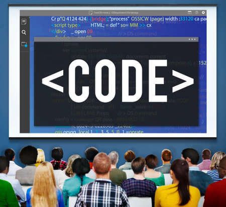 scheduling system: Code Programming Technology Language Developing Concept Stock Photo