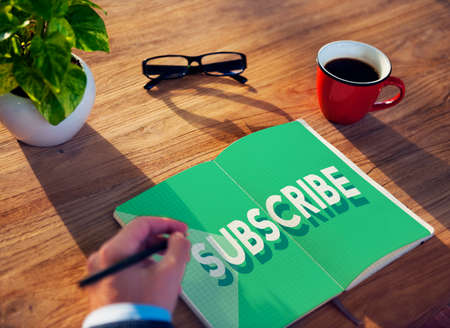 subscription: Subscribe Follow Subscription Membership Social Media Concept Stock Photo
