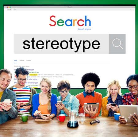 estereotipo: La creencia estereotipo Concepto Percepción Bias prejuicio Discriminación Foto de archivo