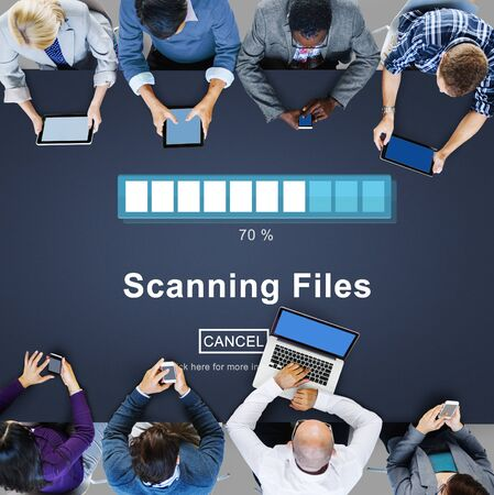 scanning: Scanning Files Searching Processing Antivirus Concept