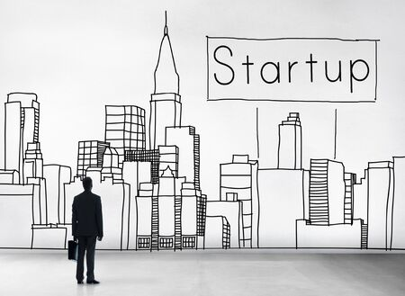 man rear view: Startup New Business Vision Strategy Launch Concept