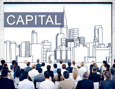 business district: Capital City District Modern Business Cityscape Concept Stock Photo