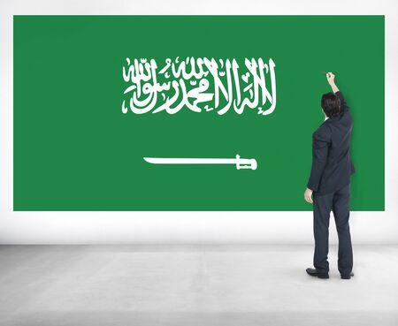 saudi arabia: Businessman Saudi Arabia National Flag Pride Concept