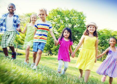 playful: Children Park Friends Friendness Happiness Playful Concept