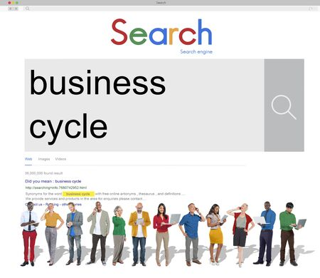 business cycle: Business Cycle Growth Recession Success Loss Profit Concept