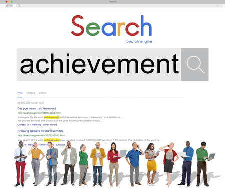 People with internet search of achievement Stock Photo