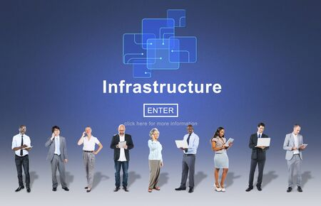 digital device: Infrastructure Construction Chip Link Concept Stock Photo