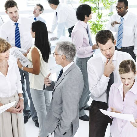 socialising: Business People Conversation Communication Talking Team Concept Stock Photo