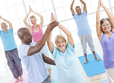 elderly: Exercise Balance Senior Adult Workout Activity Gym Concept Stock Photo