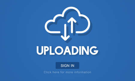 uploading: Uploading Upload Data Download Information Concept Stock Photo