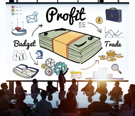 gain: Profit Gain Gross Income Benefit Money Revenue Concept