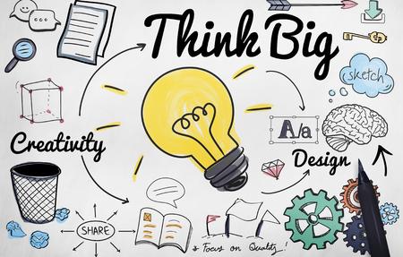 creative writing: Think Big Faith Attitude Inspiration Optimism Concept