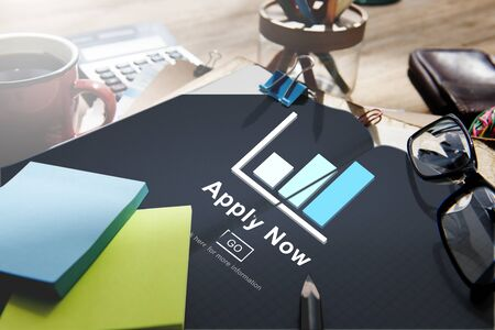 place of employment: Apply Now Recruitment Hiring Job Employment Concept Stock Photo
